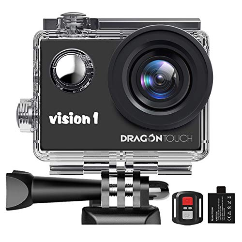 Dragon Touch Action Camera 1080P Videocamera Impermeabile Action Cam Subacquea con Telecomando per Bambini e Principianti (Visione 1)