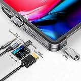 Hub USB C pour ipad Pro 2018 2019 2020, Baseus 6 en 1 Adaptateur HDMI 4K, USB 3.0, Lecteur de carte SD/TF, Port jack en 3.5mm, Chargement rapide PD Compatible avec iPad Pro 2018 et plus, Macbook Gris