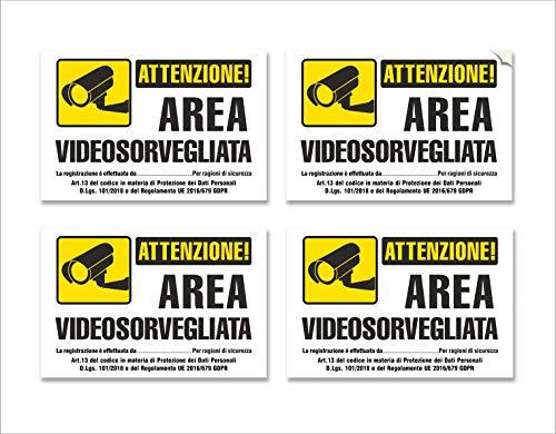 4 pegatinas de videovigilancia en PVC - Área de videovigilancia, Impermeable, en italiano, pequeño, mis: 15x10 cm - 4 uds.