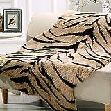 Tiger Print Rug, 44.1x21.6in Animal Printed Faux Cowhide Area Rug Skin Fur Luxury Soft Faux Fur Rug Perfectly in Living Room/Bed Room