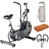 Schwinn 100250 AD6 Airdyne Upright Exercise Bike Bundle with Deco Essentials 32 oz Leakproof BPA Free Water Bottle, Workout Sport Towel and Deco Gear Wireless Sport Earbuds