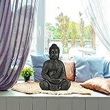 Relaxdays Buddha Figur sitzend, XL 70 cm, Gartenfigur, Dekofigur Wohnzimmer, Keramik, wetterfest, frostsicher, dunkelgrau - 2