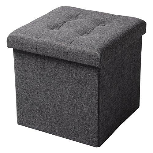 WOLTU® Sitzhocker mit Stauraum Sitzwürfel Sitzbank faltbar Truhen Aufbewahrungsbox, Deckel abnehmbar, Gepolsterte Sitzfläche aus Leinen, 37,5x37,5x38CM(LxBxH), Dunkelgrau, SH06dgr-1