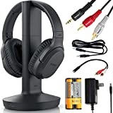 SONY Wireless Headphones for TV Watching (WHRF400R) with Transmitter Dock (TMRRF400) – 6-ft 3.5mm Stereo + NeeGo RCA Plug Y-Adapter for TV
