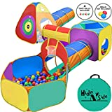 Gift for Toddler Boys & Girls, Ball Pit, Play Tent and Tunnels for Kids, Best Birthday Gift for 1 2 3 4 5 Year old Pop Up Baby Play Toy, Target Game w/ 4 Darts Indoor & Outdoor, Pit Balls Not Included