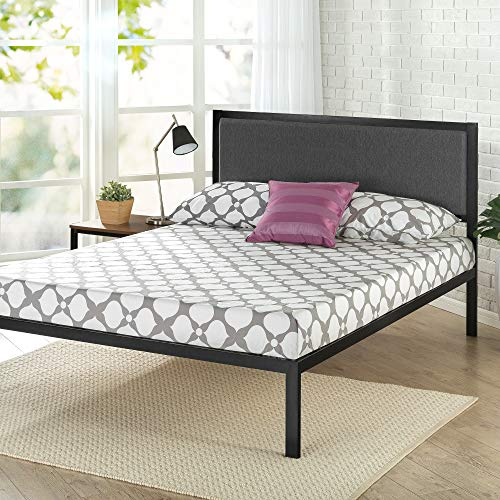 Zinus Korey 14' Steel Platform Bed Frame with Upholstered Headboard and Wood Slat Support, Queen