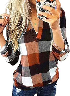 If you are looking for a unique plaid shirt,that will be a wonderful chioce.This plaid shirt features a v-neckline, cute collar, a rounded hemline, and a trendy high-low cut design ,color block plaid for you to choose. You are going to fall in love w...