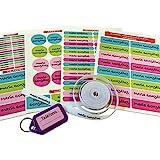 Pack de 146 etiquetas para marcar ropa y objetos. (Paleta 9) 50 etiquetas de tela + 84 etiquetas adhesivas + 12 etiquetas para zapatos + 1 llavero