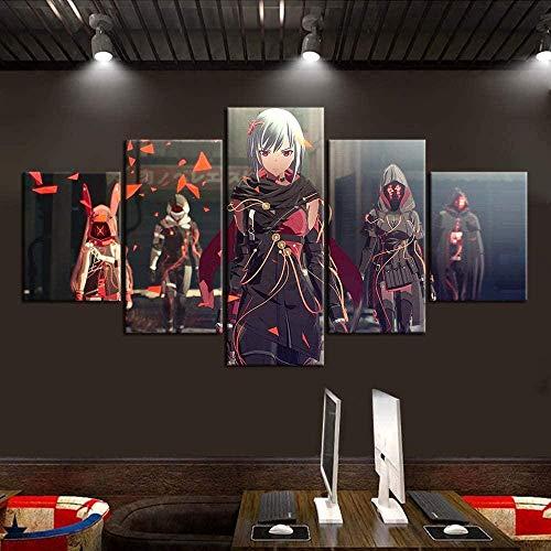 N/Z HD Leinwand Wandkunst 150Cmx80Cm Vlies 5 Panels Drucke Bild Videospiel Scarlet Nexus Gerahmte Kunstwerk Malerei Bild Foto Home Decoration