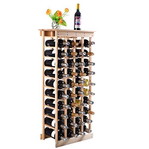 GIANTEX - Portabottiglie Vino per 54 Bottiglie Cantinetta Porta Vino Scaffale in Pino Massiccio per Casa Bar Ristorante 46,4 x 27,6 x 113 cm