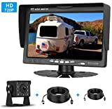 Yakry HD 720P Backup Camera 7 Inch Monitor Kit System for Trucks, Trailers, Campers, Fifth Wheels IP69K Waterproof Night Vision Rear View High-Speed Observation System Guide Lines ON / OFF