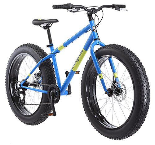 Mongoose Dolomite Fat Tire Mens Mountain Bike,17-Inch/Medium High-Tensile Steel Frame, 7-Speed, 26-inch Wheels, Light Blue