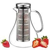 ecooe Glaskaraffe 1500ml Fruit Infuser Glaskrug aus Borosilikatglas Wasserkrug mit Edelstahl Deckel und Sieb Karaffe Glaskanne