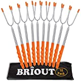 Marshmallow Roasting Sticks 10 Pack Extra Long 45 Stainless Telescoping Hot Dog Smores Skewers Kids Safe Barbecue Forks for Campfire, Bonfire and Grill