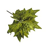 SUREH 6 flores de pascua artificiales de seda con purpurina para rbol de Navidad, decoracin de rbol de Navidad, color verde