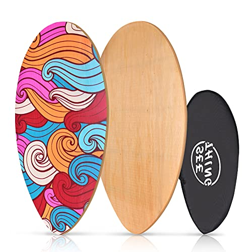 seething 35 Inch Skimboard with High Gloss Coat | Wood Skim Board for Kids, Teenagers, and Adults Iridescent Cloud
