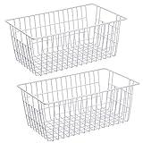 SANNO Wire Storage Baskets Freezer Baskets Farmhouse Organizer Storage Bins Large Organizer Bins for Storage , Office, Bathroom, Pantry Organization Storage Bins Rack with Handles-Set of 2