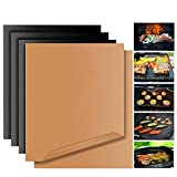 Grill Mat Set of 5 Non Stick BBQ Non Stick Copper BBQ Bake Sheets Dishwasher Safe PTFE Teflon Fiber Grill Roast Heavy Duty,Reusable for Gas, Charcoal, Electric Grill Outdoor Indoor ( Gold & Black)