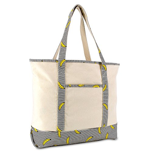 DALIX 22' Shopping Tote Bag in Heavy Cotton Canvas (Zippered Top) Striped Banana