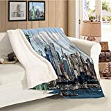 New York Winter Quilt Statue of Liberty in NYC Harbor Urban City Print Famous Cultural Landmark Picture Mint Blue Gift Throw Blanket for Women Men Throw Size