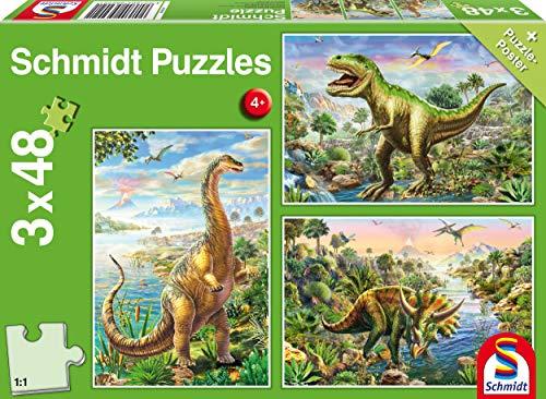Schmidt- Puzzle Avventura con i Dinosauri 3 x 48 Pezzi, 56202