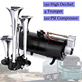 Schafter 150DB Air Horn Car Truck Train Chrome 4 Trumpet Train Air Horn 12V 150 PSI Compressor (Black)