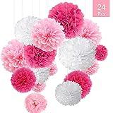O-Kinee Pompons Papier de Soie, 24pcs Decoration Bapteme Fille Rose pour...