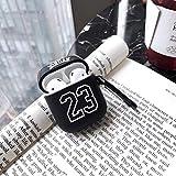 Chicago Bulls 23 Jordan Suave de Silicona for Auriculares del Caso for AirPods 2 de Apple Protección inalámbrica Bluetooth Headset vainas Cubierta for el Aire (Color : Black)
