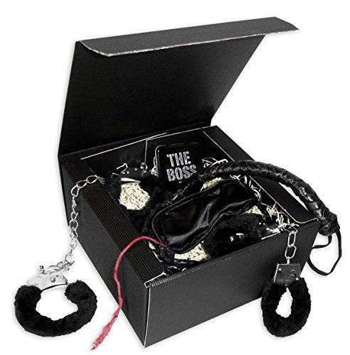 Close Up Geschenkset 50 Shades of Black- Set aus Plüschhandschellen, Fußfesseln, Augenbinde, Peitsche, Mr. Grey Mints.