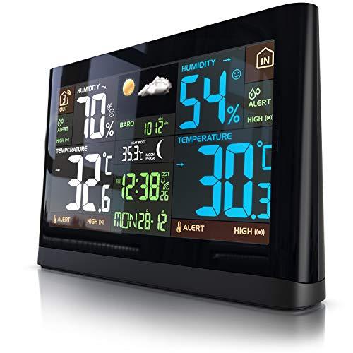 Funk Wetterstation mit Farbdisplay - mit Außensensor - DCF Empfangssignal Funkuhr - Innen- und Außentemperatur - relativer Luftdruck - Barometer - Temperaturtrend – Lichtsensor - LCD-Display