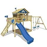 WICKEY Aire de jeux en bois Smart Coast Portique de jeux avec toboggan, balançoire double, grand bac à sable, toit en bois et mur d'escalade, bleu