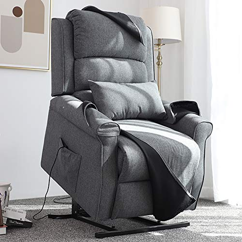 Irene House Power Lift Chair Modern Transitional Chair Lifts for Elderly Up to 300 LBS Soft Linen Breath Suede Fabric Sofa Lift Chairs Recliners Power Lift Recliner with Side Pocket (Grey)