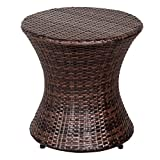 Sundale Outdoor Small Side Table, Patio Rattan End Table, 20 Inch Hourglass Wicker Accent Tables, Steel Frame, Lightweight, Brown