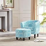 BELLEZE Modern Upholstered Barrel Accent Chair with Ottoman Footrest Set, Blue Floral Print