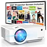 """Video Projector, TOPVISION 6500L Portable Mini Projector with 100"""" Projector Screen, 1080P..."""
