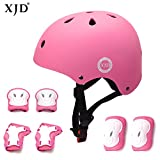 XJD Kids Bike Helmet Toddler Helmet 8-13 Years Boys Girls Adjustable Kids Protective Gear Set Knee Elbow Wrist Pads Cycling Roller Scooter Bicycle Skateboard Helmet from Toddler to Youth Pink M