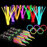 400 Glow Sticks Bulk Party Supplies - Glow in The Dark Bracelets and Necklaces Party Pack, Includes 7 Vibrant Colors of 8' Glowsticks and Connectors