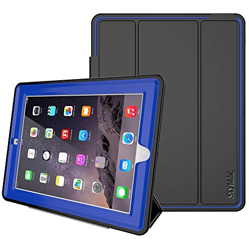iPad 2/3/4 Case, iPad 4th Generation Case Cover,SEYMAC Stock Shockproof Heavy Duty 3 Layer Case,Drop Proof, Auto Sleep Smart Cover Protective Magnetic PU Leather Stand for iPad 2/3/4 Generation (Blue)