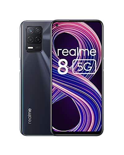 realme 8 5G Telephone Portable, Smartphone Debloqué et Processeur Dimensity7005G, Écran ultra-fluide de 90Hz, Batterie massive de 5000mAh, Appareil photo Nightscape de 48MP, Dual Sim, NFC, 4+64GB