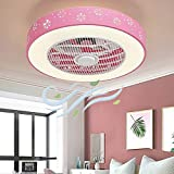 IYUNXI LED Enclosed Ceiling Fan Light 20 Inches Iron Shell Round 3-Color 10 Levels Dimming 36W 110V 3-Gears Wind Speed Remote Control 1H/2H Timing Low Profile Quiet Ceiling Fan (Pink-Snowflake)