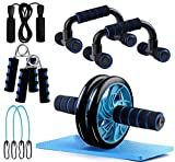 Ab Roller Wheel, 5-in-1 Ab Roller Kit with Knee Pad, Grip, Skipping Rope, Resistance Bands, Pad Push Up Bars Handles Grips, Perfect Home Gym Equipment for Men Women Exercise