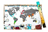 Scrape Map Deluxe Carte du Monde à gratter en Aluminium Blanc
