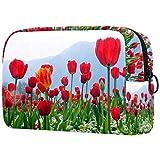 Bolsa de Aseo Neceser Flores de tulipán Rojo Hombre y Mujeres Suave al Tacto Neceser de Viaje Bolsa de Cosmético Viajes Vacaciones Fiesta Elementos Esenciales 18.5x7.5x13cm