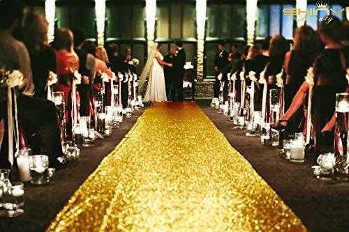 ShinyBeauty Gold Aisle Runner-4FTx15FT-Sequin Aisle Runners Carpet Aisle Runner Outdoor Bridal Aisle Runner Glitter Aisle Runner for Wedding Ceremony (4FTx15FT, Gold)