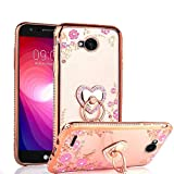 LG X Charge/X Power 2/Fiesta 2/LG Fiesta/LG V7 Case, Glitter Crystal Heart Floral Series - Slim Luxury Bling Rhinestone Clear TPU Phone Case with Ring Stand - Rose Gold