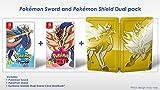 Jaquette en anglais, jouable en français The Dual Edition includes Pokemon Sword, Pokemon Shield and the Exclusive Golden Dual Game Card Steelbook.