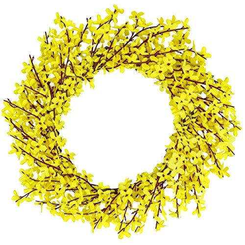 Marokai Yellow Front Door Wreath 16.6'' | Indour Outdoor Wreath Forsythia Wreath | Fake Wreath Summer Home Decor