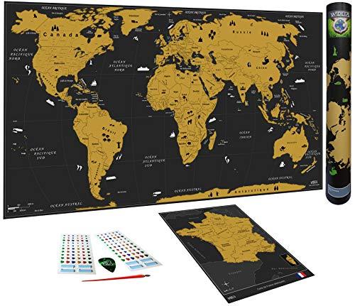 WIDETA Carte du Monde à gratter, Français/XXL (82 x 43 cm), Bonus Carte...