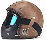 Fang Shan PU Leather Helmet 3/4 Motorcycle Chopper Bicycle Helmet Vintage Motorcycle Helmet and Goggles Mask