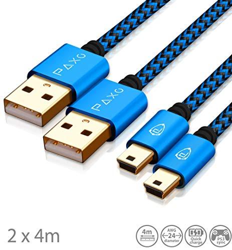 2 x 4m cavo di ricarica per controller PS3, cavo da USB a Mini USB lungo, cavo intrecciato (intrecciato), placcato oro, blu/nero